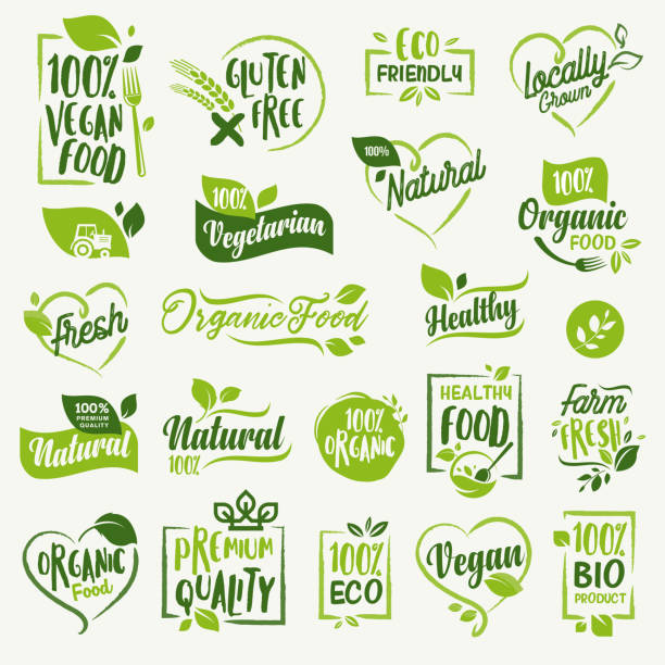 Organic food, farm fresh and natural product stickers and labels collection for food market, ecommerce, organic products promotion, healthy life and premium quality food and drink. vector art illustration