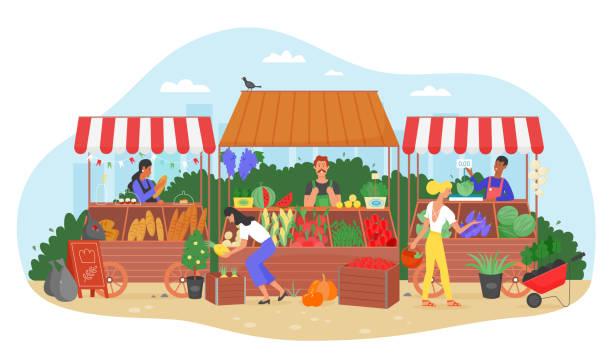 illustrazioni stock, clip art, cartoni animati e icone di tendenza di illustrazione vettoriale del mercato alimentare biologico, cartone animato piatto contadino venditore carattere che vende frutta e verdura raccolta fresca presso la bancarella del mercato di strada - bazar mercato