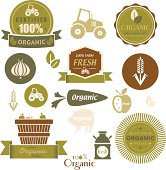 A set of organic and natural food labels and symbols. See below for more food images.
