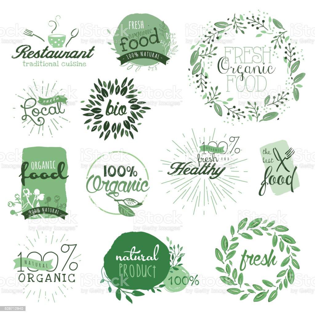 Étiquettes d'aliments biologiques et des éléments - Illustration vectorielle