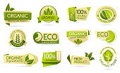 Eco, bio and organic farm food, vector product package labels. 100 percent natural ecological ingredients, vegetarian and vegan farm grown, fresh healthy food, green tree leaf logos