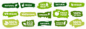 Organic food labels. Fresh eco vegetarian products, vegan label and healthy foods badges. Veganism logo, vegans diet sticker or ecological food product stamp. Vector isolated symbols set