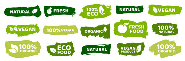 ilustraciones, imágenes clip art, dibujos animados e iconos de stock de etiquetas de alimentos orgánicos. productos ecológicos frescos, etiqueta vegana y alimentos saludables insignias conjunto vectorial - vegana