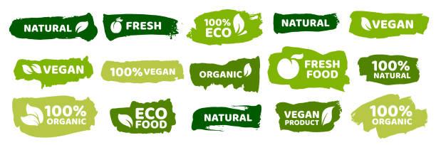 stockillustraties, clipart, cartoons en iconen met biologisch voedseletiketten. verse eco vegetarische producten, veganistisch label en gezonde voeding badges vector set - veganist