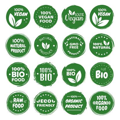 Organic food labels. Fresh eco vegetarian products, vegan label and healthy foods badges. Veganism logo, vegans diet sticker or ecological food product stamp. Vegetarian eco green concept.