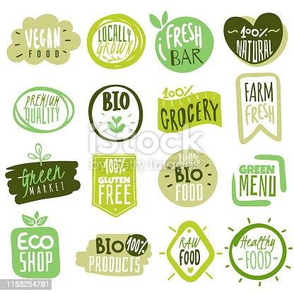 istock Organic food labels. Natural meal fresh products logo. Ecology farm bio food vector green premium badges 1153254781