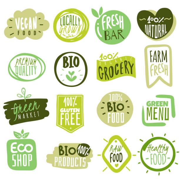 Organic food labels. Natural meal fresh products logo. Ecology farm bio food vector green premium badges Organic food labels. Natural healthy meal fresh diet products logo stickers. Ecology farm eco food. Vector nature green premium vegan badges organic stock illustrations
