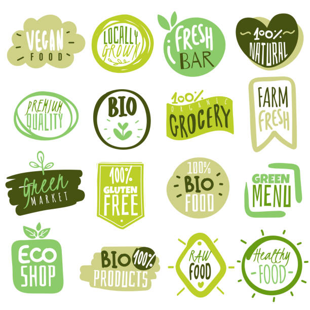 Organic food labels. Natural meal fresh products logo. Ecology farm bio food vector green premium badges Organic food labels. Natural healthy meal fresh diet products logo stickers. Ecology farm eco food. Vector nature green premium vegan badges fruit backgrounds stock illustrations