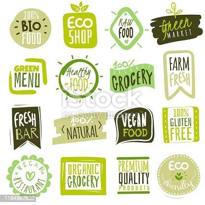 istock Organic food labels. Natural meal fresh products logo. Ecology farm bio food vector green premium badges 1154962632