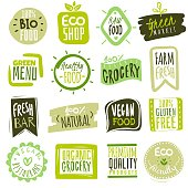 Organic food labels. Natural meal fresh products logo. Ecology healthy farm bio food vector green premium badges