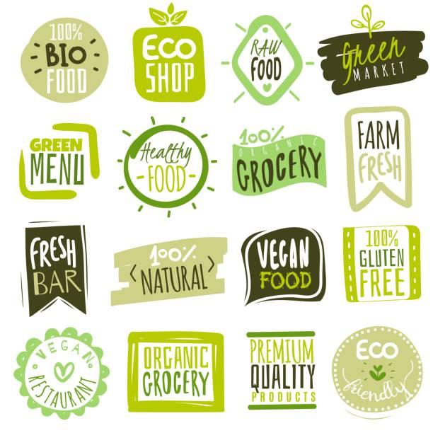 有機食品標籤。天然膳食新鮮產品標識。生態農場生物食品向量綠色優質徽章 - 大自然 幅插畫檔、美工圖案、卡通及圖標