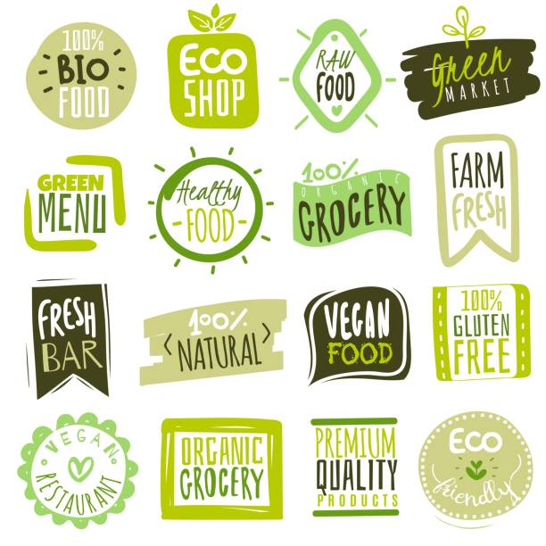 Organic food labels. Natural meal fresh products logo. Ecology farm bio food vector green premium badges Organic food labels. Natural meal fresh products logo. Ecology healthy farm bio food vector green premium badges biology stock illustrations