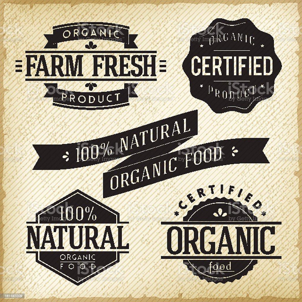 Organic Food Labels royalty-free stock vector art