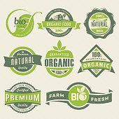 Vector illustration featuring organic food labels.