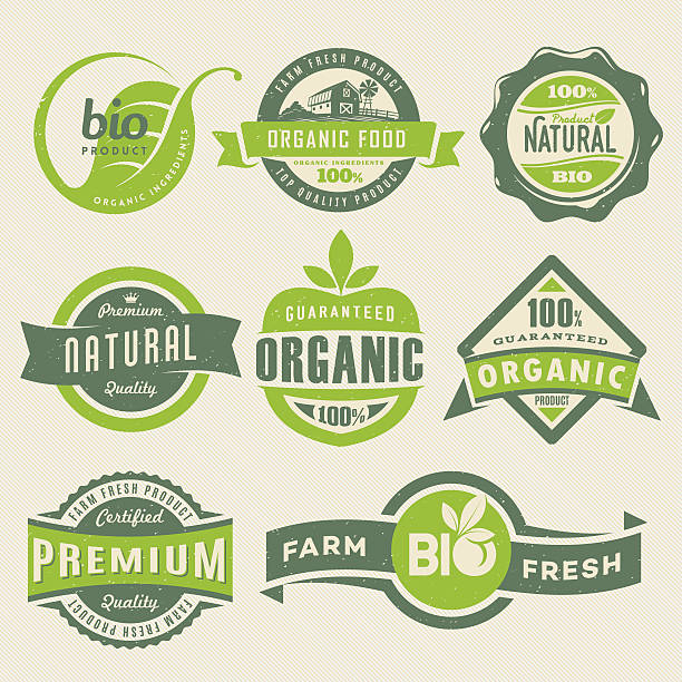 organic food labels - vintage nature stock illustrations, clip art, cartoons, & icons