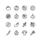 Organic food line icon set. Vegetable, gluten free, lactose free. Food concept. Can be used for topics like healthy nutrition, diet, fresh food