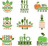 Organic food logo. Eco vegan natural health ingredients for badges or labels vector modern quality symbols. Illustration of bio and eco logo, emblem logotype and badge
