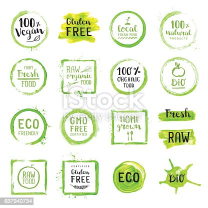Organic food painted green labels