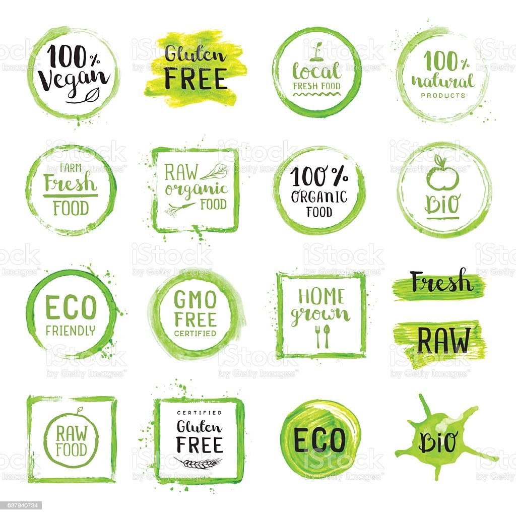 Organic food painted green labels vector art illustration