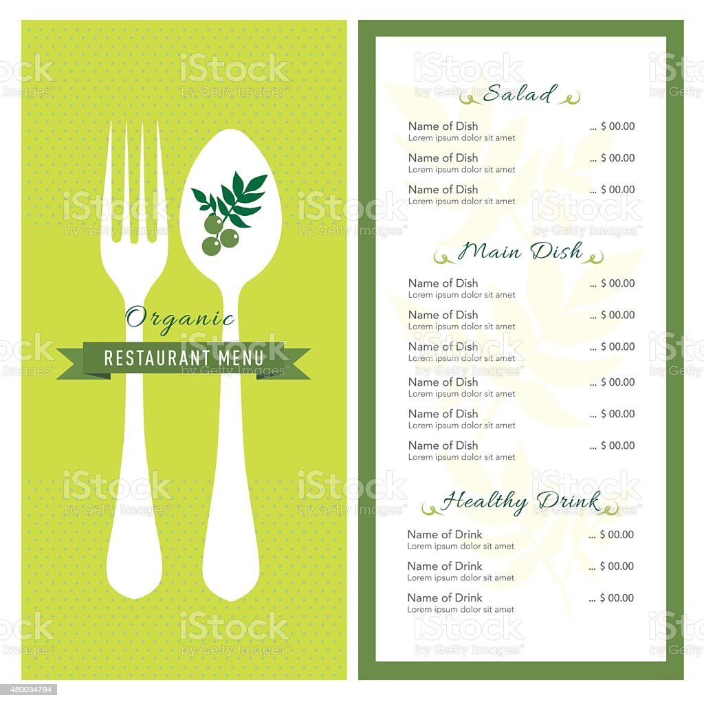 organic food restaurant cafe menu design layout template
