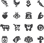 Organic Food Silhouette icons