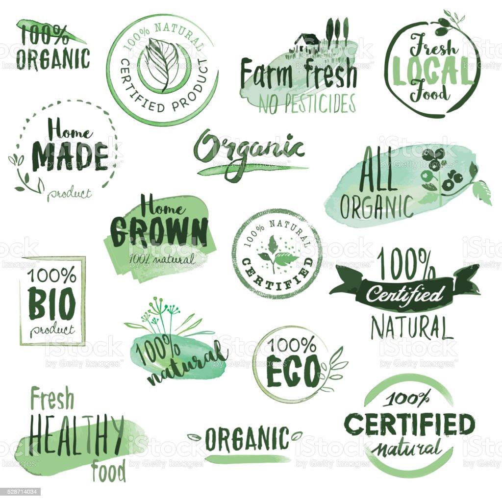 Alimentation biologique d'autocollants et des badges - Illustration vectorielle