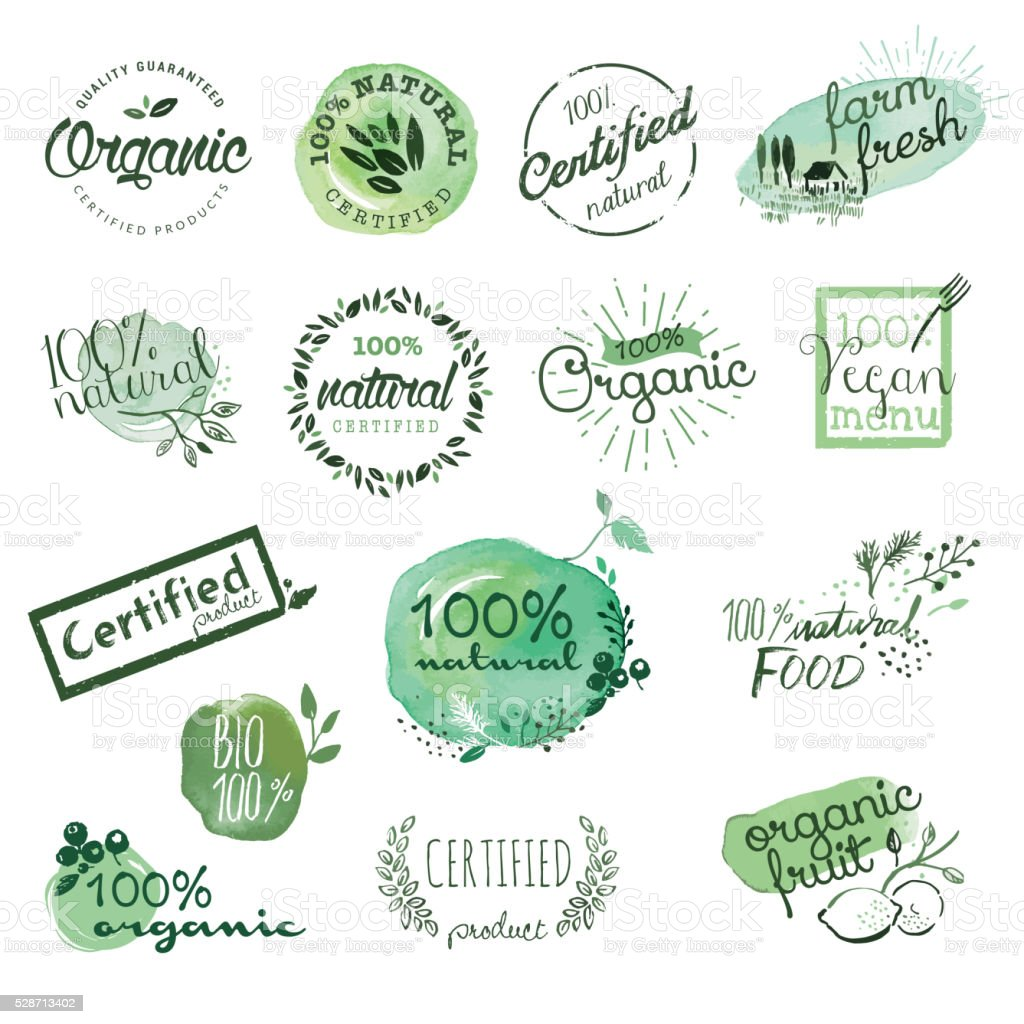 Organic food stickers and elements vector art illustration