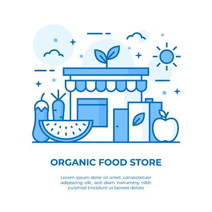 Organic Food Store Thin Line Illustration