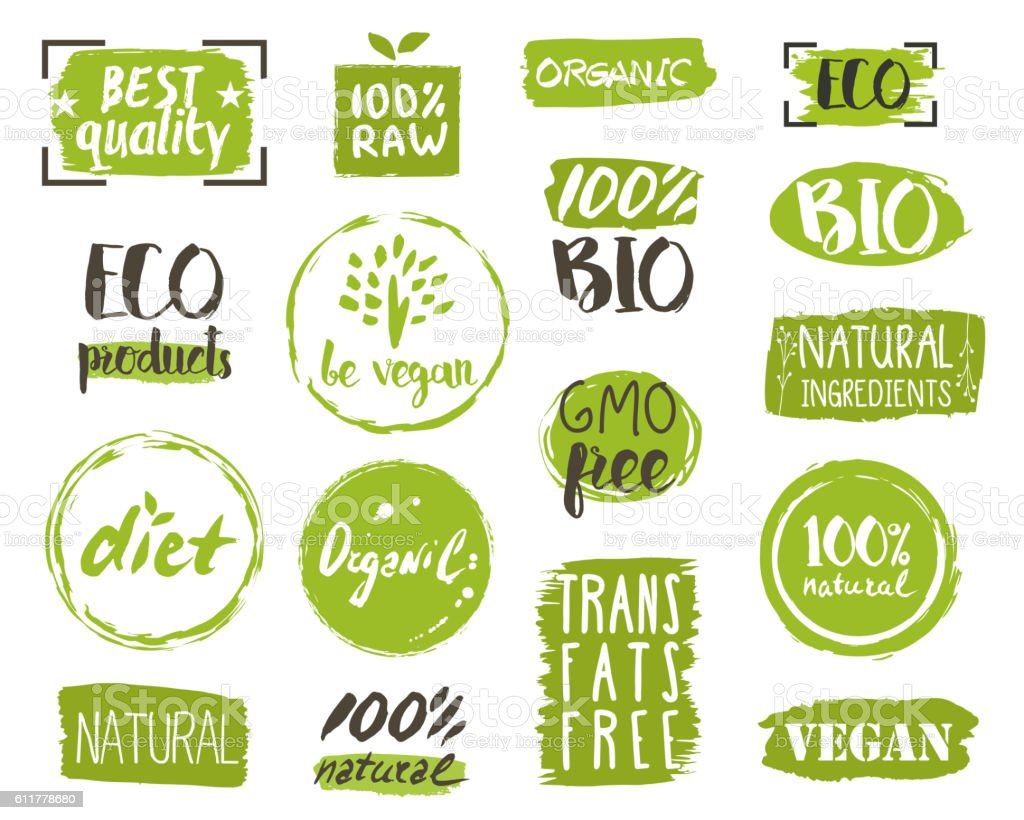 Organic food tags, elements and logo vector art illustration