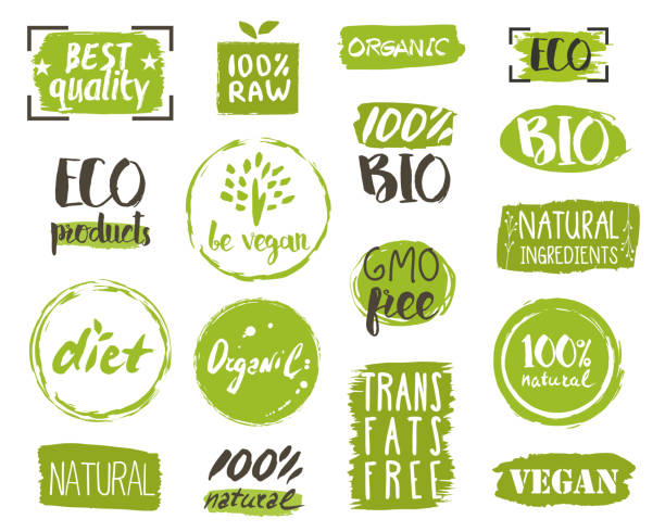 ilustraciones, imágenes clip art, dibujos animados e iconos de stock de organic food tags, elements and logo - alimentos orgánicos