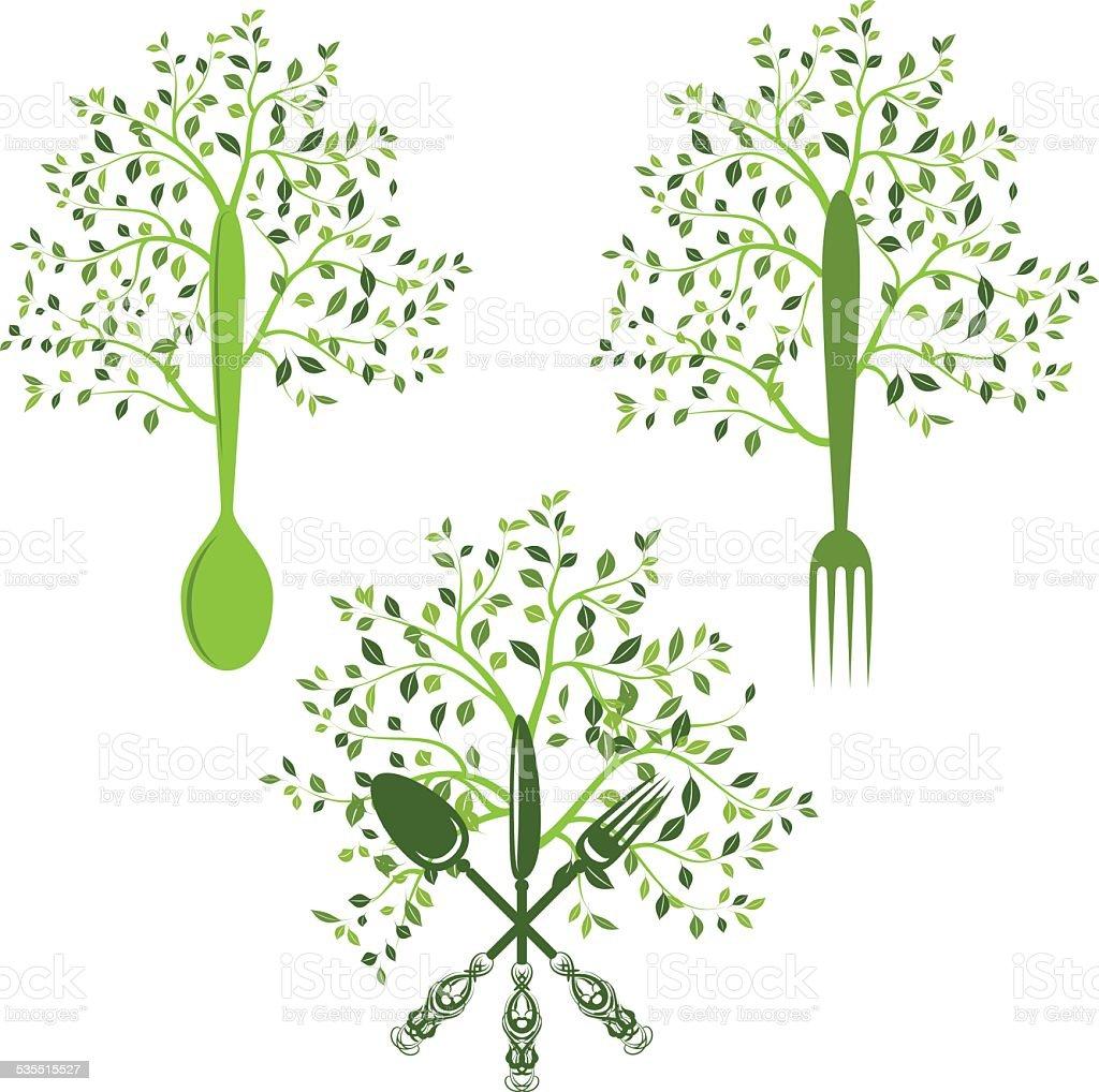 Aliments biologiques arbres - Illustration vectorielle