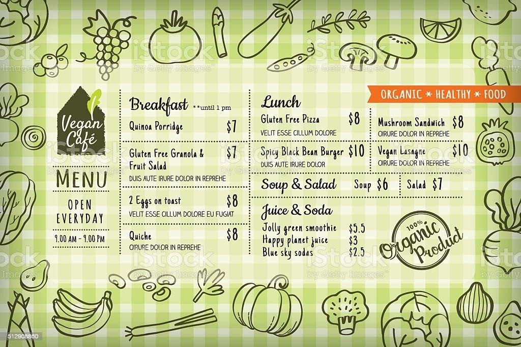 Vegana Menú De Restaurante De Comida Orgánica O Mantel Individual ...