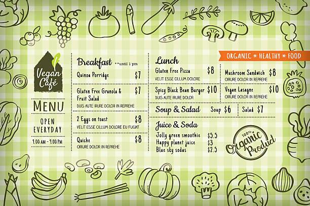 オーガニックフード完全菜食主義者用料理のレストランメニューテンプレートまたは プレース マット ボード - ランチョンマット点のイラスト素材/クリップアート素材/マンガ素材/アイコン素材