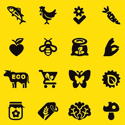 Organic Food Yellow Silhouette icons | EPS10