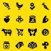 Organic Food Yellow Silhouette icons