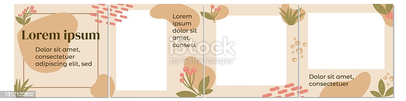 istock Organic forms and plants Instagram carousel templates 1312120832