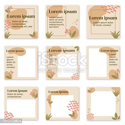 istock Organic forms and plants Instagram post templates 1312120824