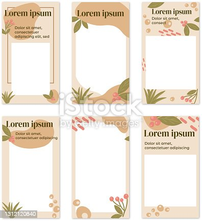 istock Organic forms and plants Instagram stories templates 1312120840