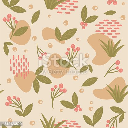 istock Organic forms and plants pattern 1312120829