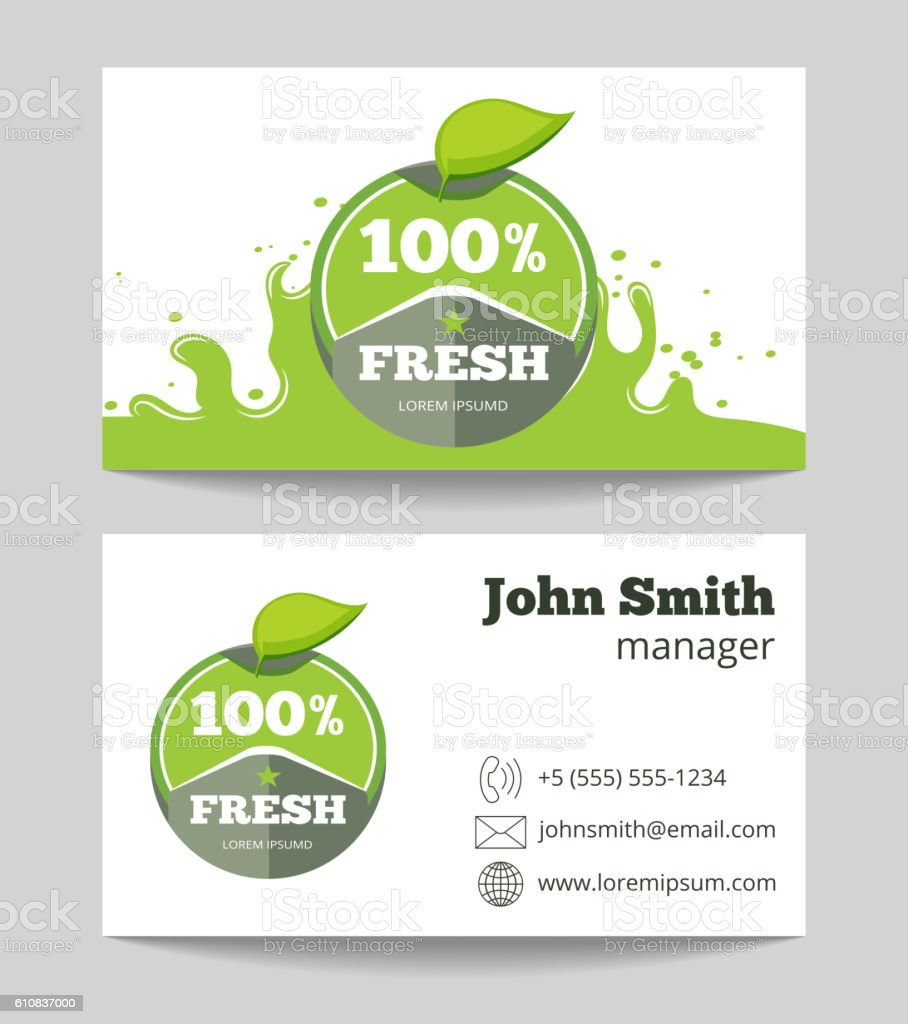 Organic Fresh Natural Food Business Card Stock Vector Art More