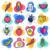 Organic fruit and vegetable liquid flat line flow style symbols. Flat line design vector icons set for infographics, mobile and web designs.