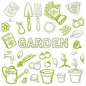 Hand drawn organic gardening vector illustration