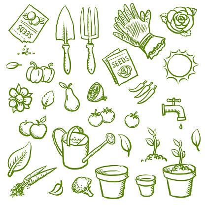 Organic gardening icons