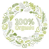 organic food hand drawn vector illustration wreath