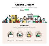 Organic grocery flat line web graphics