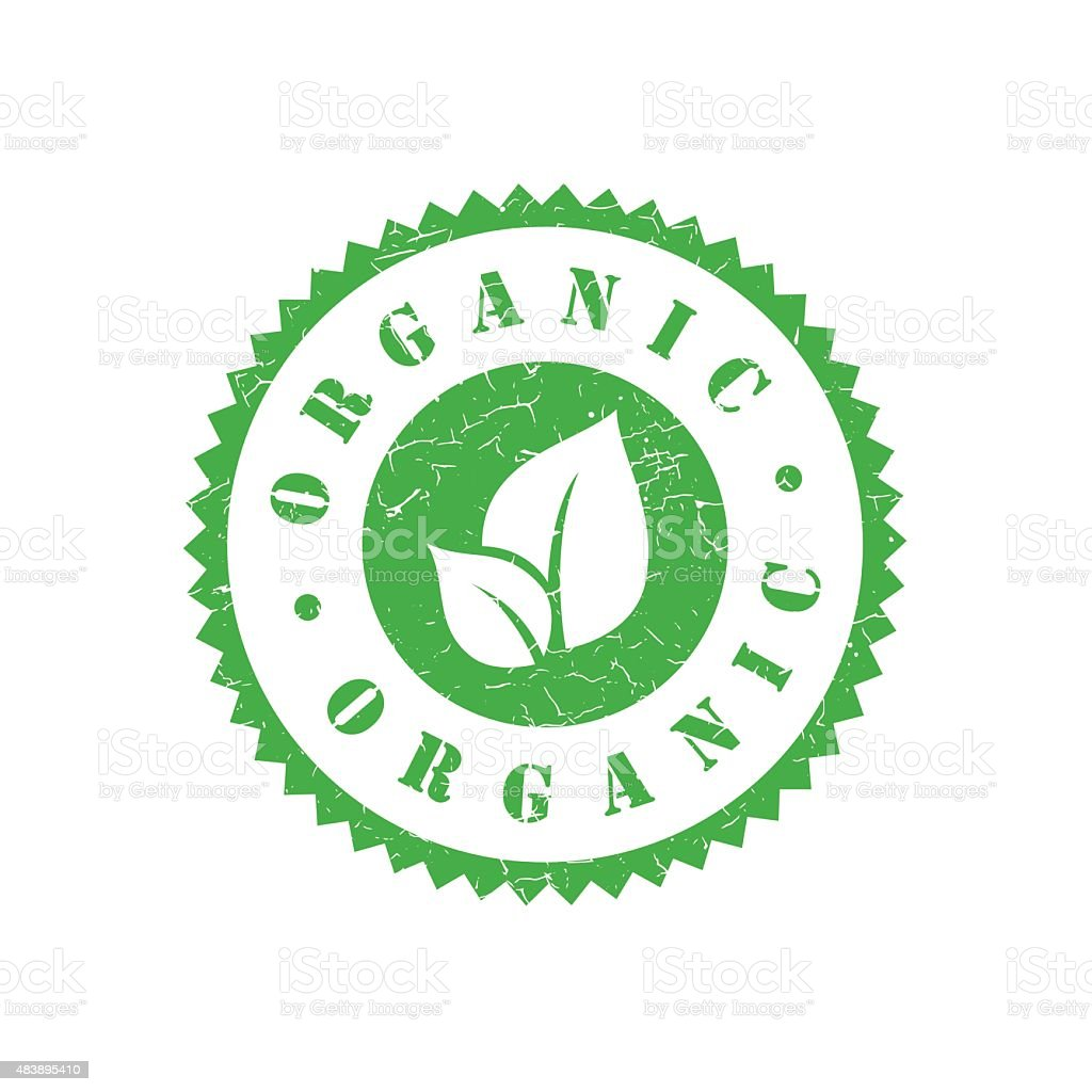 Organic grunge retro green isolated stamp vector art illustration