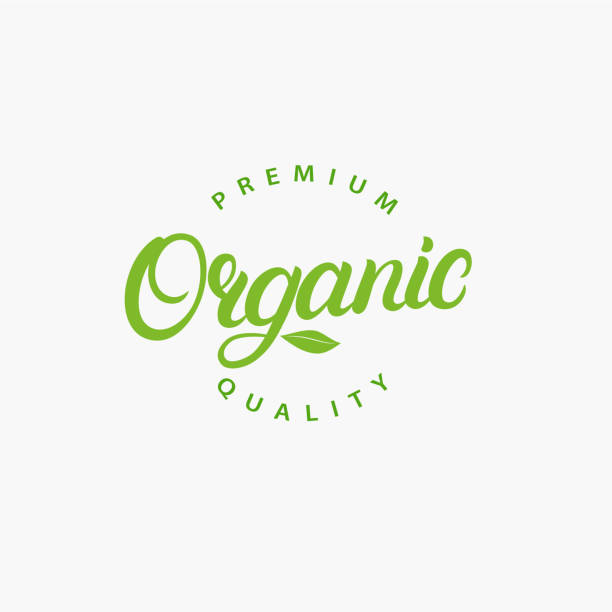organic hand written lettering logo, label, badge, emblem. - organic stock illustrations, clip art, cartoons, & icons