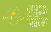 Organic handwritten font FARM FRESH textured. Hand crafted typeface design. Original handmade alphabet type on black background. Isolated doodle vector letters and numbers. Ecology template badge.