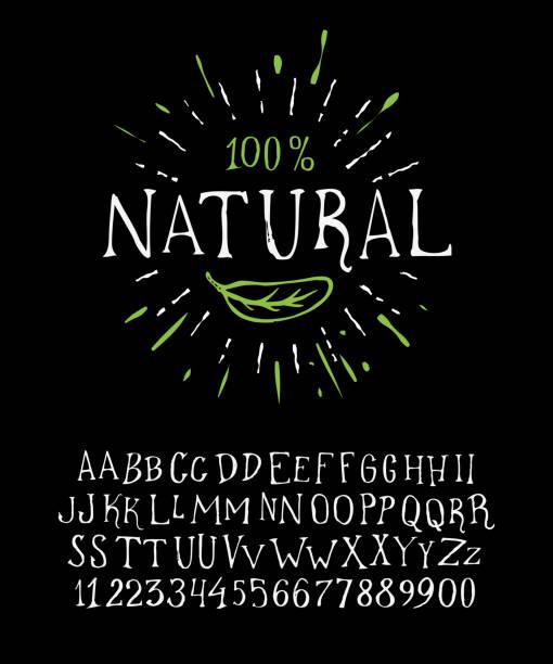 illustrazioni stock, clip art, cartoni animati e icone di tendenza di organic handwritten font natural - healthy green juice