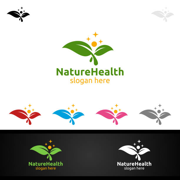 organic health care medical symbol with human and leaf character - physical therapy stock illustrations